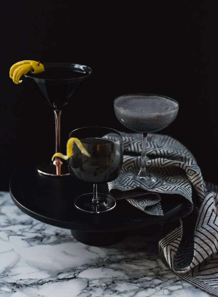 Spooky Squid Ink Cocktails // recipe on craftandcocktails.co