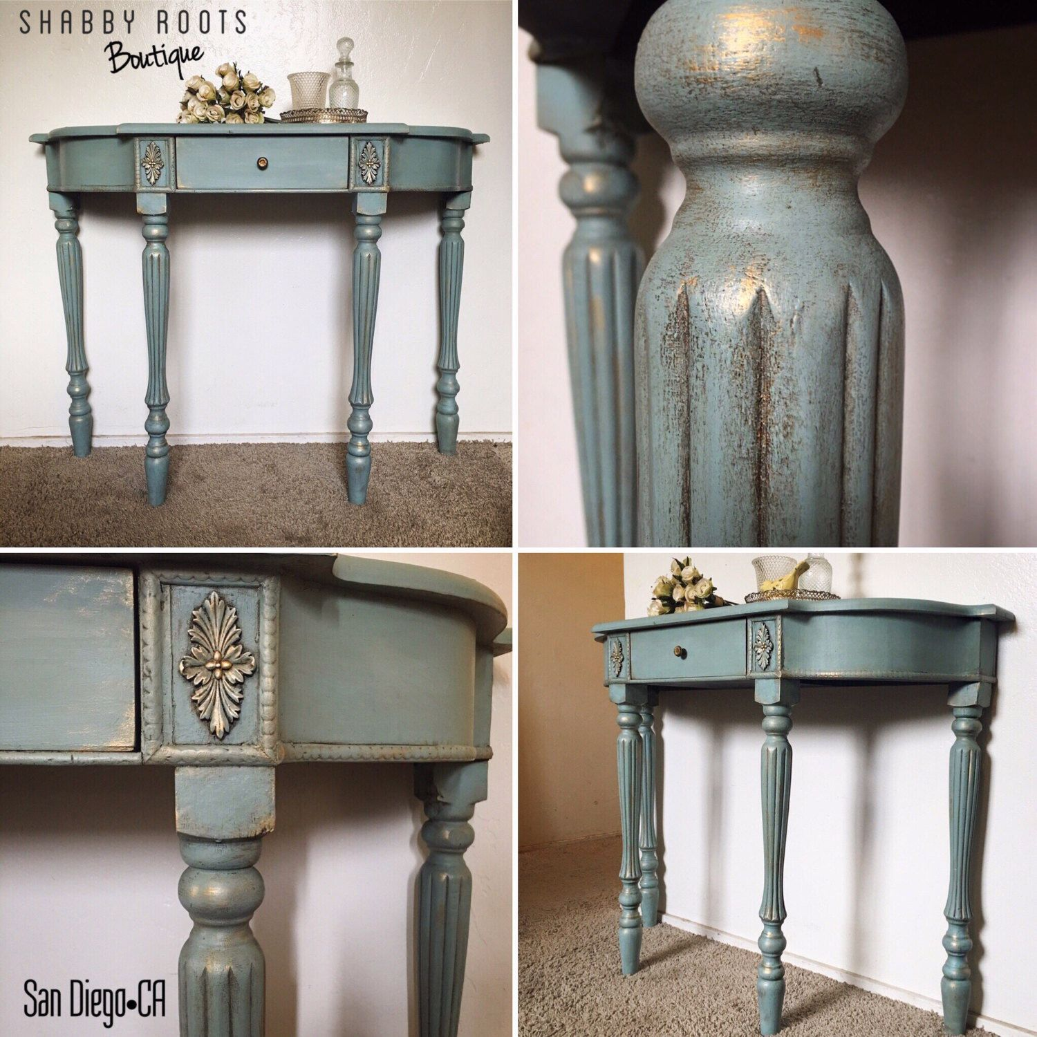 New gorgeous duck egg blue gold shabby chic victorian console gorgeous duck egg blue gold shabby chic victorian console table sofa table san geotapseo Images