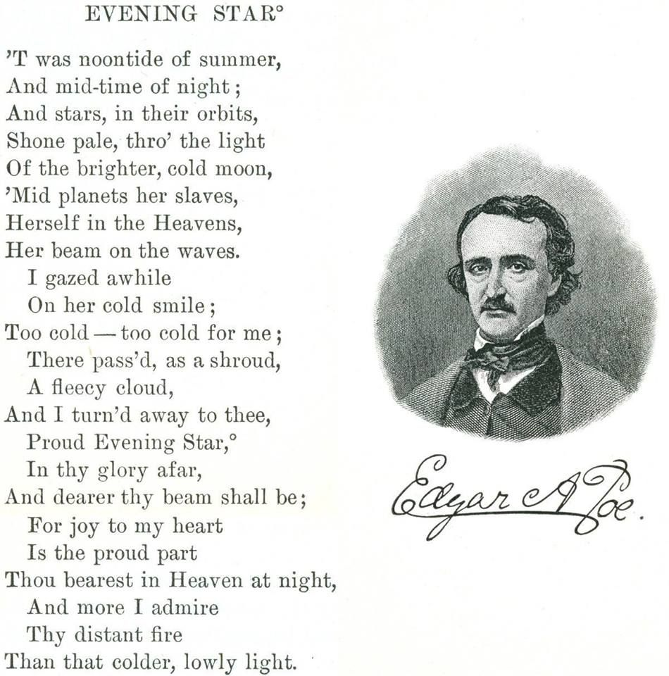 Evening Star Poem By Edgar Allan Poe Hunter Allen Quote Quotes Poetry Analysi Of Annabel Lee