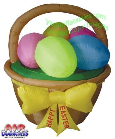 Air Characters, Inflatable Greetings, Easter Basket With 5 Eggs. This  Design Is Exclusively Made For Yard Inflatables Inc.