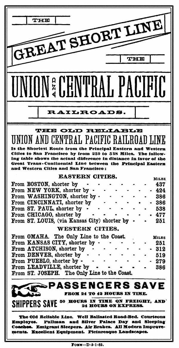 Central Pacific and Union Pacific Railroad Timetables, etc.   For My ...