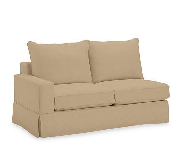 PB Comfort Square Arm Slipcovered Left Arm Loveseat, Knife Edge Down Blend Wrapped Cushions, Washed Linen/Cotton Caramel