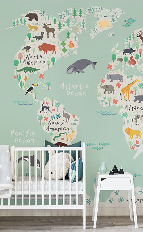 Safari kids map wallpaper mural muralswallpaper pinterest this nursery wallpaper displays a delightful world map adorned with native animals teaching your little one about the world create a truly positive and gumiabroncs Image collections