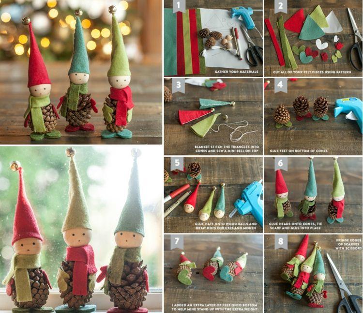 basteln mit tannenzapfen zum advent wichtel zwerge elfen filz