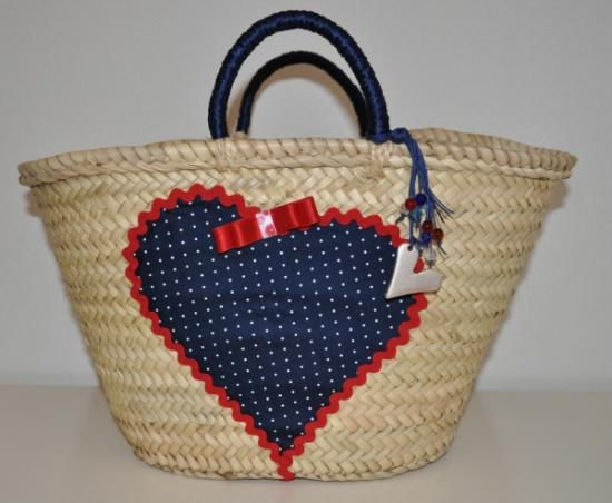 cesta con corazon - Como Decorar Cestas De Mimbre