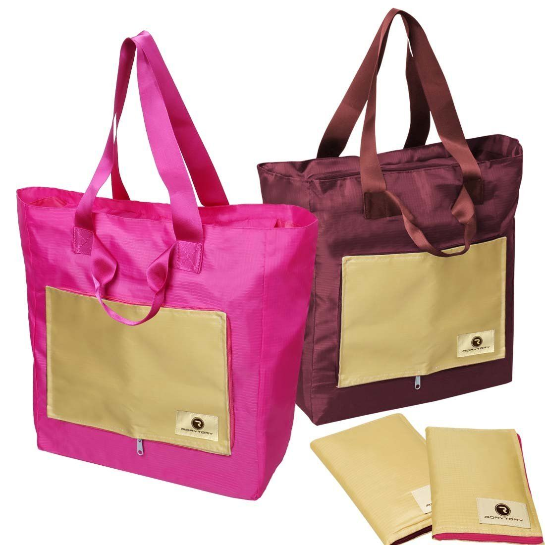 rorytory 2 pack pink u0026 maroon foldable compact nylon shopping travel tote bags large waterproof - Travel Tote Bags