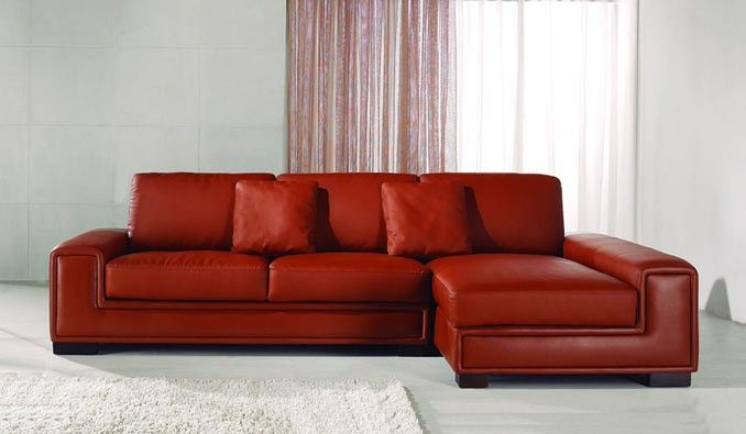 Tonne Red Leather Corner Sofa
