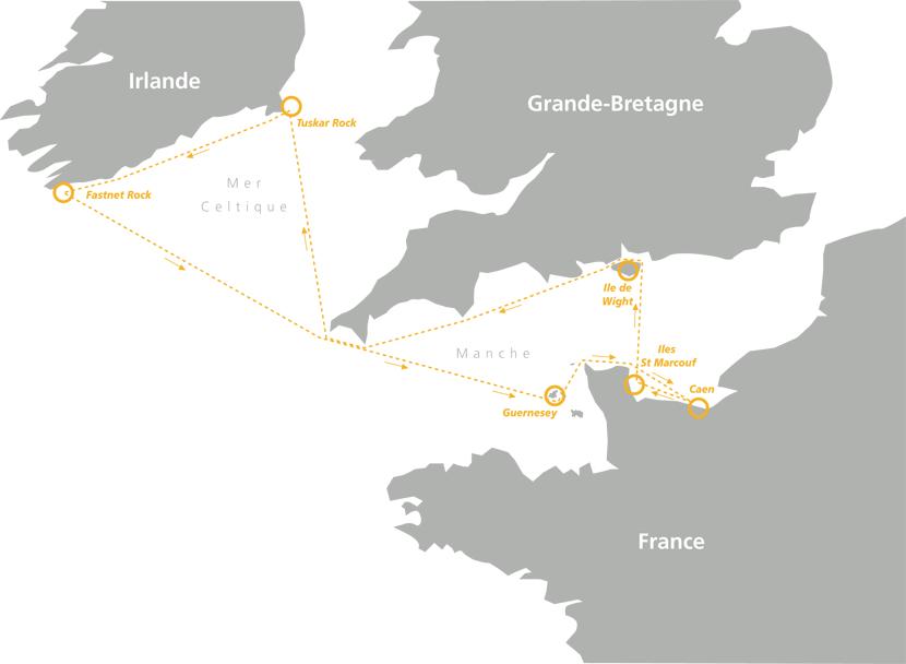 Découvrez la carte de la 6eme édition de la Normandy Channel Race 2015. Avec un départ le dimanche 24 mai à 16h, de Caen Ouistreham et une arrivée le 27 à Caen. Cette grande course de 1000 miles se court en binôme, suivez notre skipper sur : http://www.normandy-race.com/index/followrace/idnews/291/annee/2015