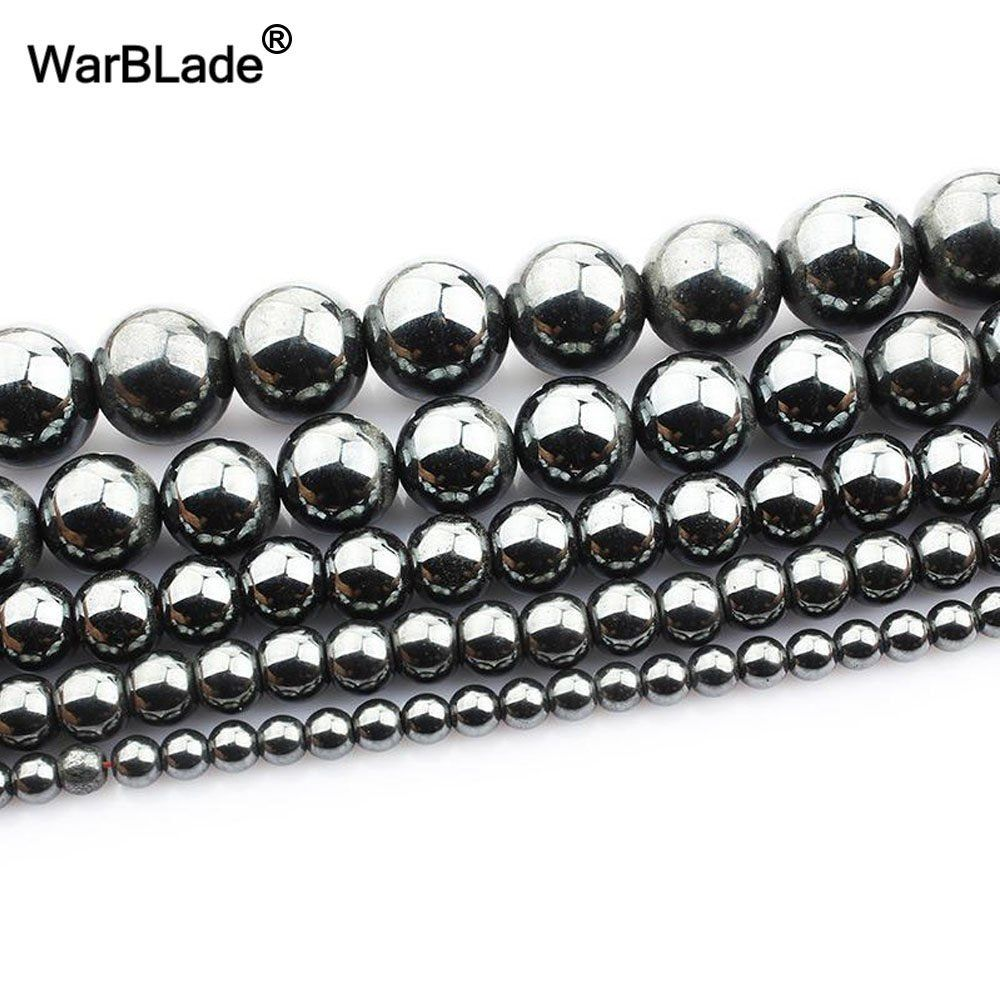 Wholesale Round Hematite Bead Black Loose Findings Spacer Beads 4mm//6mm8mm//10mm