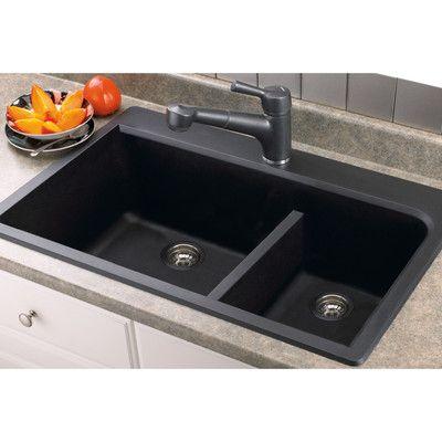 Transolid Radius 33 L X 22 W Granite Double Offset Drop In Kitchen Sink Drop In Kitchen Sink Double Bowl Kitchen Sink Cottage Kitchen Design