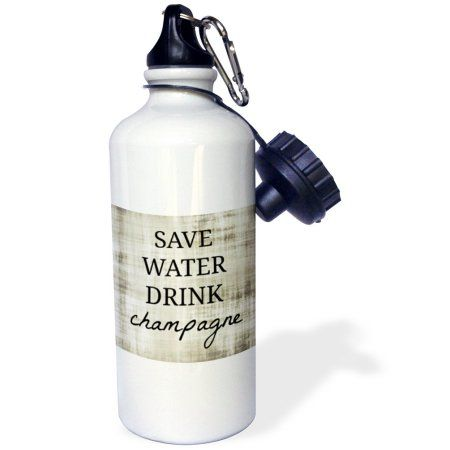 3dRose Save water drink champagne, Sports Water Bottle, 21oz, White