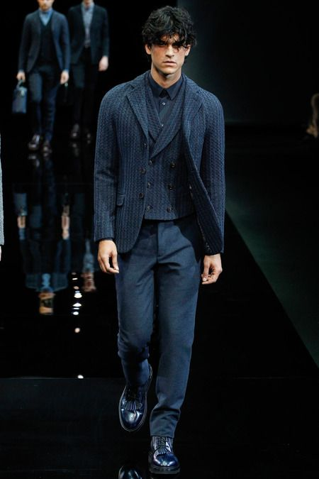 Blue tweed sportcoat and vest paired with blue flannel trousers by @ARMANI Official. #IStyleNY #Style