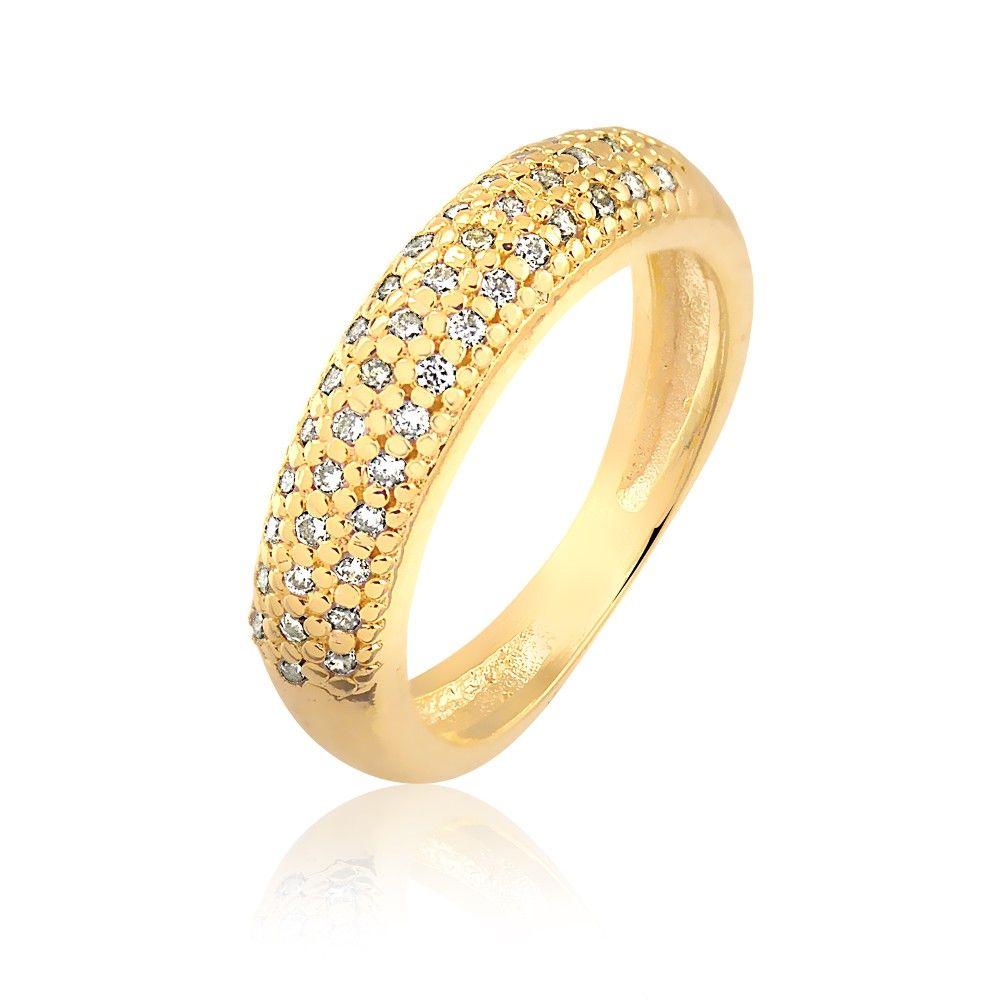 e3d710b6a15ab Anel aparador de aliança com fileiras cravejadas de zircônias brancas  folheado em ouro 18k