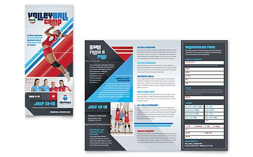 Volleyball Camp TriFold Brochure Template  Trifold Brochure