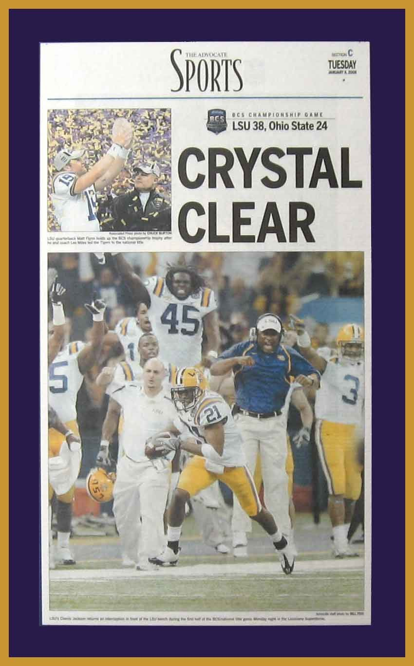 Louisiana State Tigers Wood Mounted Poster Print