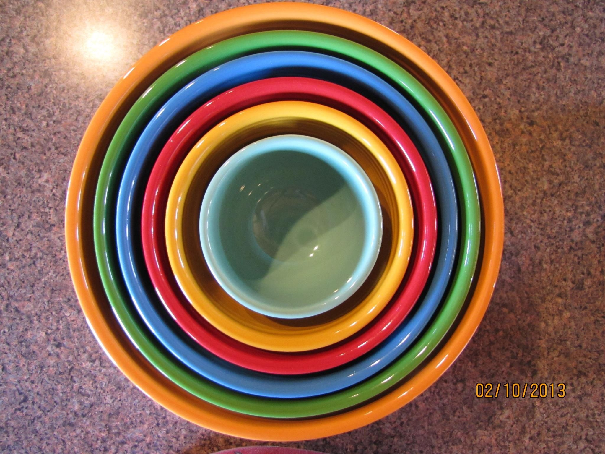 Fiesta® nested bowls. This set includes a 3 piece baking bowl set, a ...