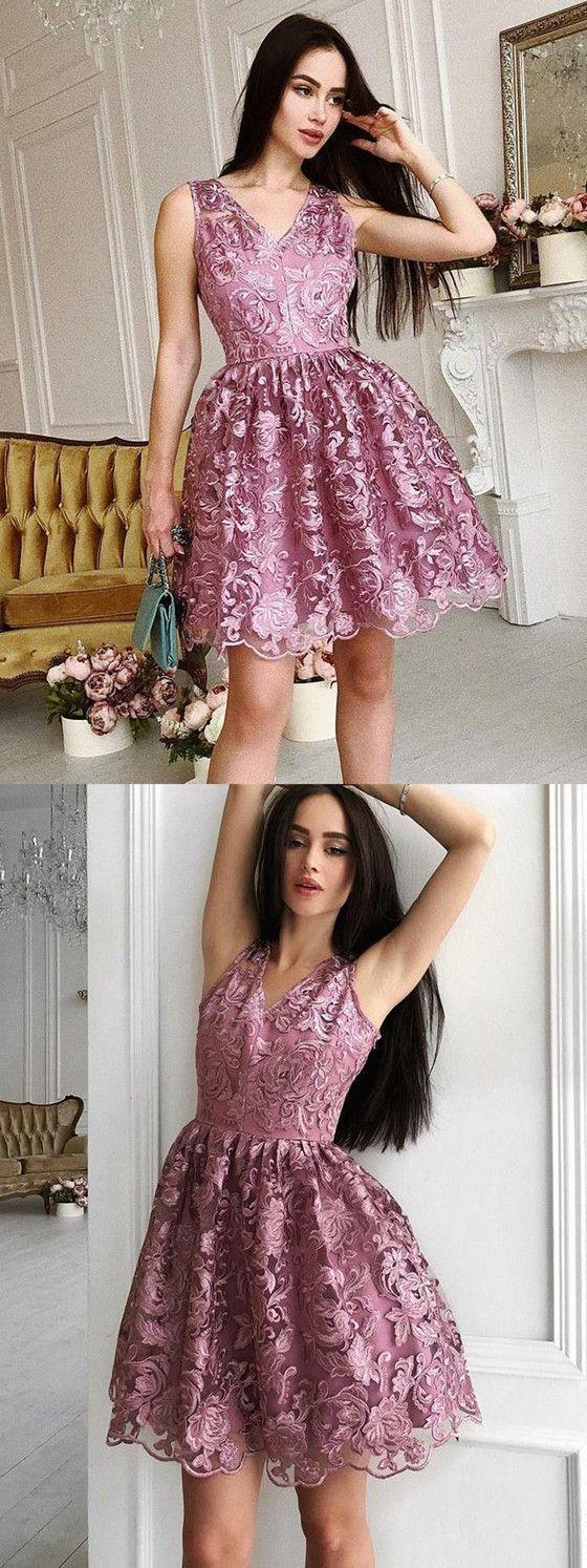 New arrival aline vneck sleeveless lace short homecoming dresses