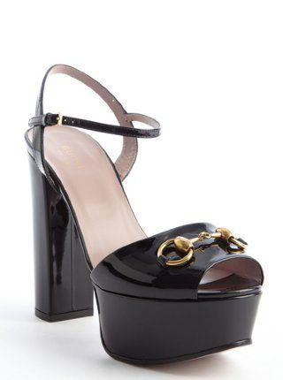 80c00e70ac7 Gucci  black patent leather horsebit platform peep toe sandals ...