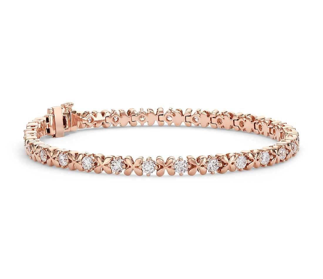 Blue Nile Studio Rose Petal Diamond Bracelet In 18k Rose Gold 2 5 Ct Tw Blue Nile Black Gold Jewelry Blue Nile Jewelry Rose Gold Bracelet