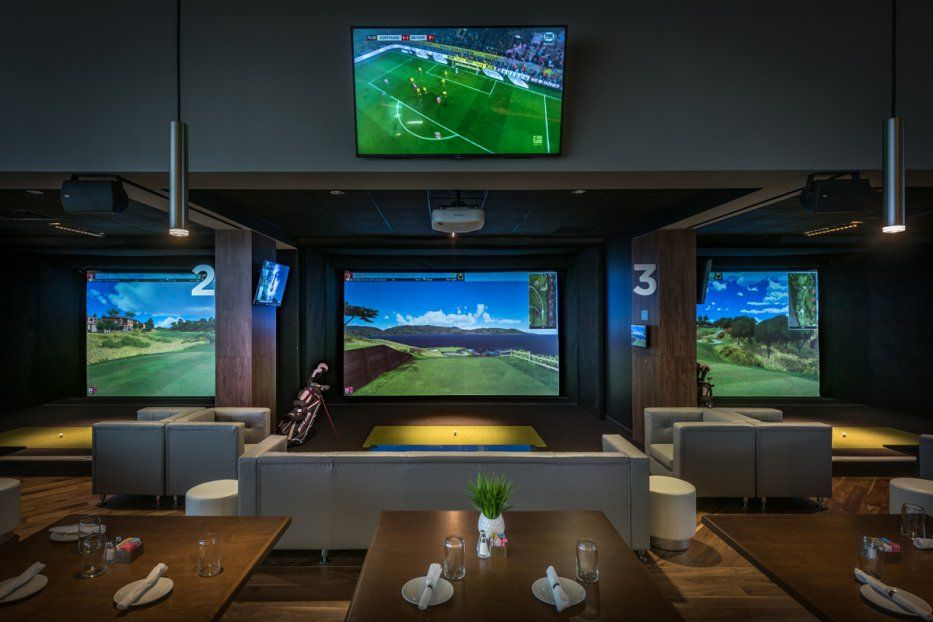 Image result for indoor golf simulator with lounge seating
