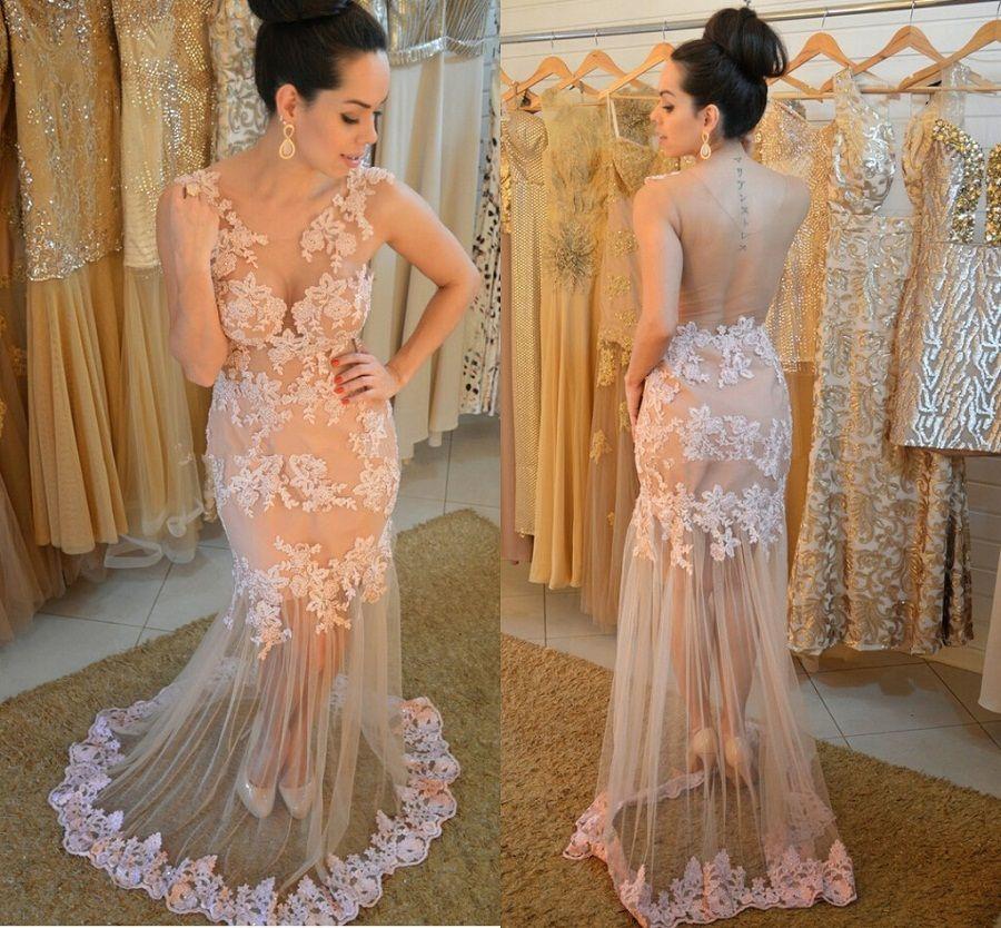 Elegant Prom Dress,See Though Back Evening Dress,Sheer Mermaid ...