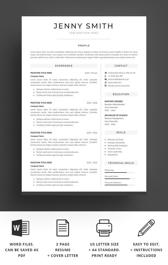 Resume Template Word Modern Clean CV Pinterest Template