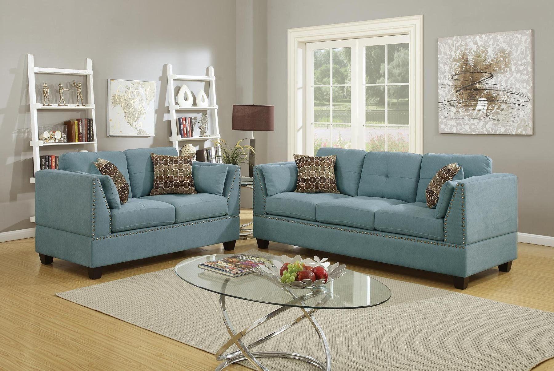 Blue Sofa Set Living Room Hydra Blue Sofa Set Sofa And Loveseat Set Velvet Living Room Living Room Sets