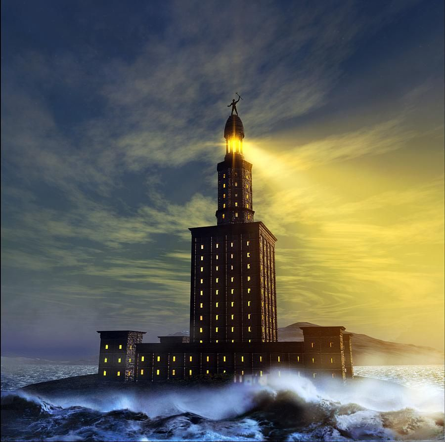 Pharos Lighthouse Of Alexandria, Artwork Canvas Print