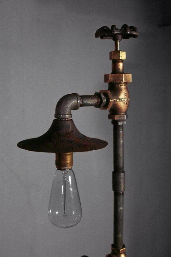 Außenle Terrasse tepe vana sapkali yer lambasi metal pipe fitting edison bulb lamp