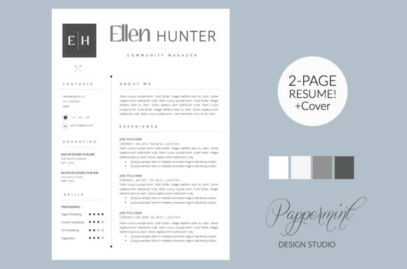 Resume Template  Cover Letter Word By Pappermint On Creative