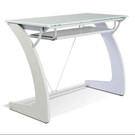 Jesper Office 225-WH White Glass Writing Desk with Keyboard Tray