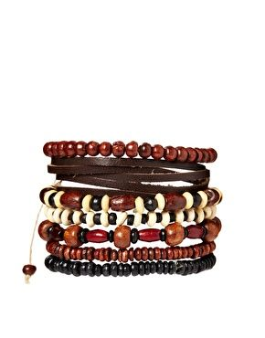 Image 1 of ASOS Leather Mixed Bracelet Pack