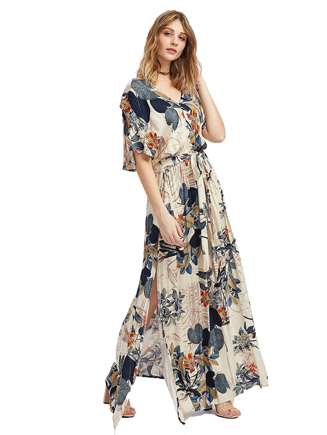fe74d7cad03  30 Amazon Milumia Women s Boho Split Tie-Waist Vintage Print Maxi Dress at  Amazon Women s Clothing store