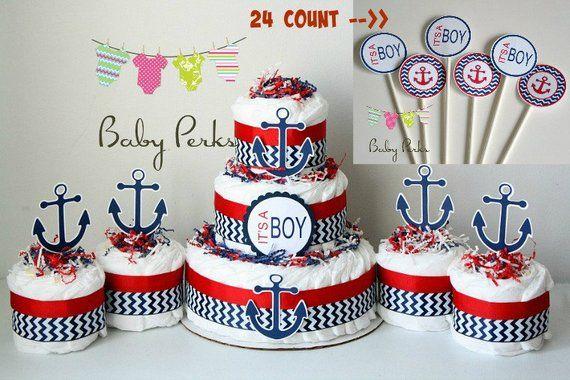 Nautical Diaper Cake Nautical Baby Shower Sailboat Theme Baby