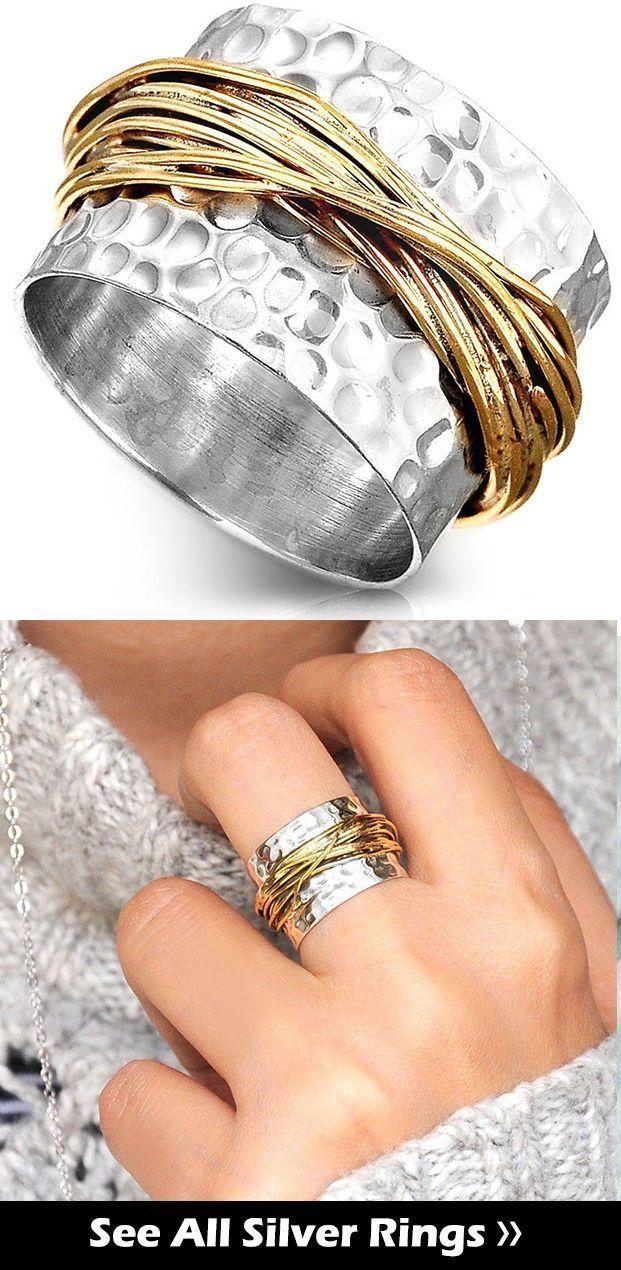 Schmuck-Statement-Ring, breites Band, einfacher Ring, gehämmerter Ring, Sterling Silber Ring für Frauen, Manschette klobigen Ring, Rohrring, Boho-Ring