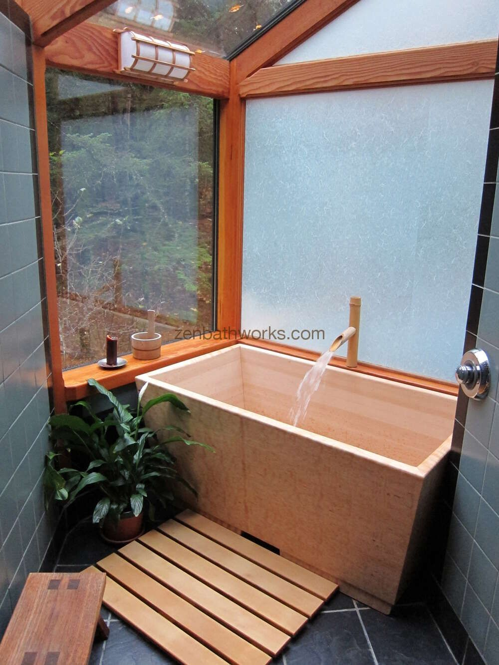 Hinoki Bathtub Filling With Hot Water These Tubs Are Deep 22 Inches Japanese Bathroom Design Japanese Soaking Tubs Japanese Style Bathroom
