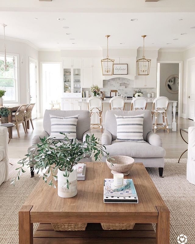 Living Room Open To White Kitchen Benjamin Moore Classic Gray Walls Large Wood Coffee Table Farm House Living Room Living Room Designs Wall Decor Living Room