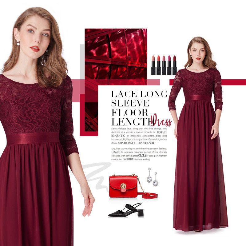 Ever Pretty Plus Burgundy Bridesmaid Dress Long 3 4 Sleeve Lace