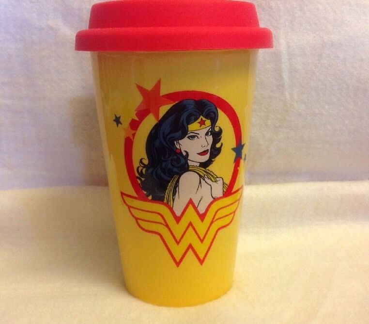 d6cd0aed421 Wonder Woman 12oz Double Wall Ceramic Travel Mug Silicone Lid Red & Yellow  New #Vandor