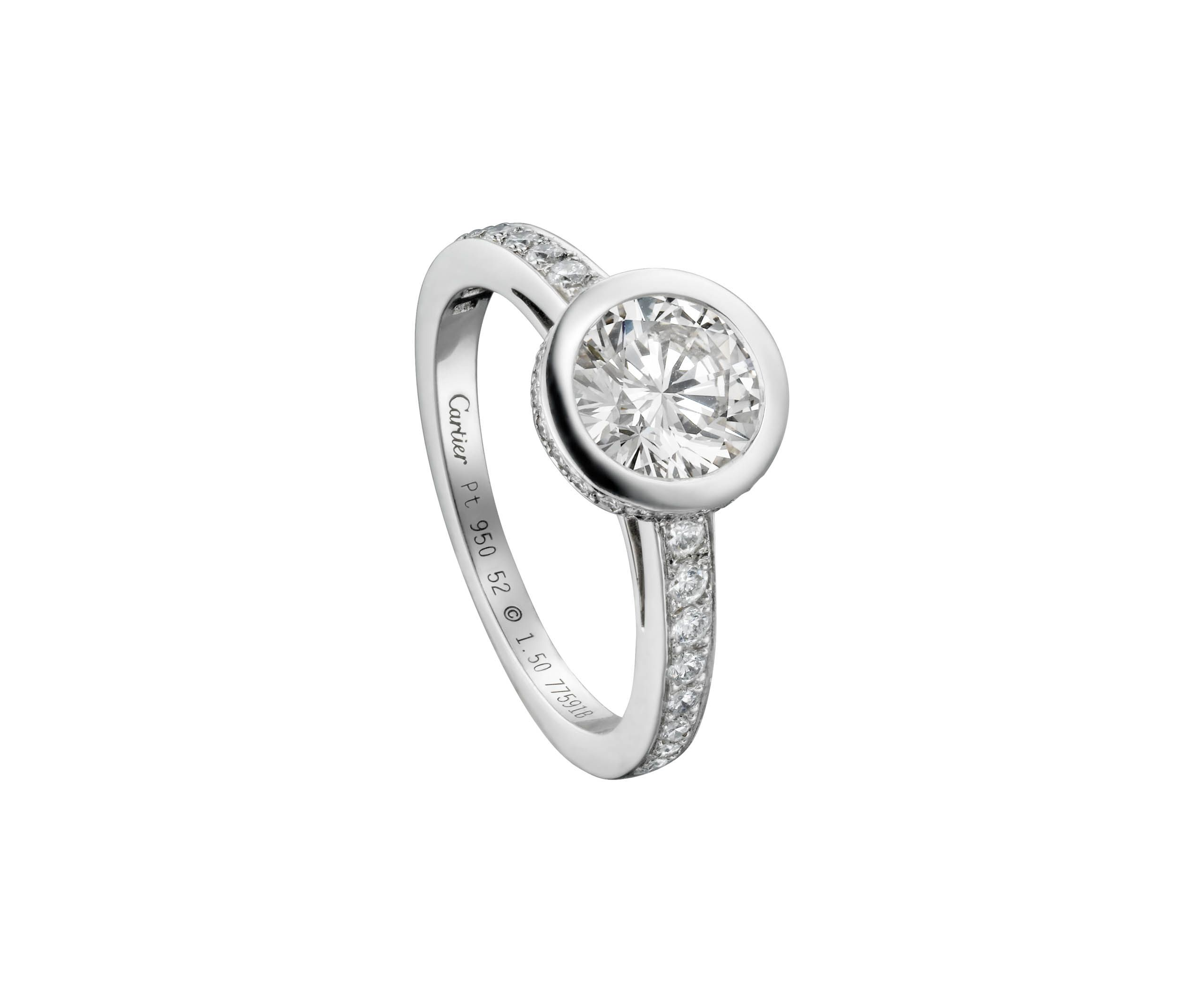diamond shank white engagement in gold with ring round rounded