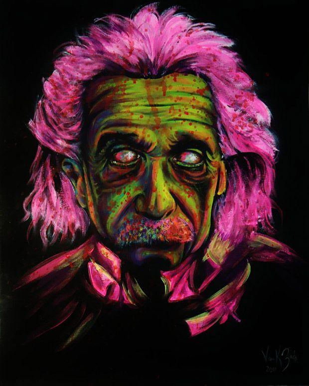 Zombie Einstein Painting // 10 Amazing Albert Einstein Portraits for His 134th Birthday