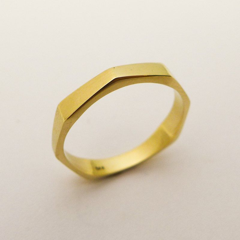 Modern wedding ring Geometric gold ring Wedding band for men and