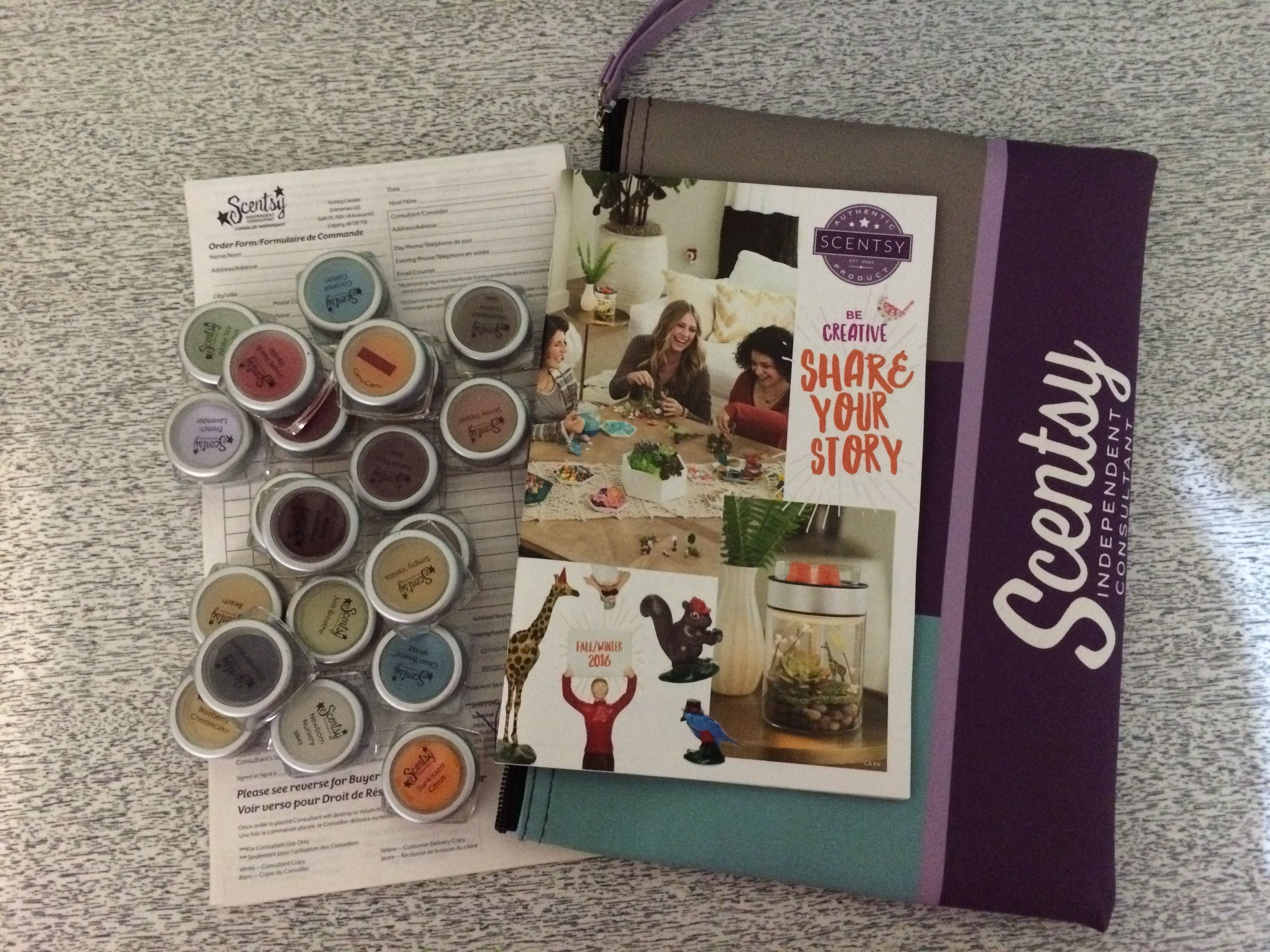 My Scentsy mini kit.  I include 1 catalog, order forms and all 22 Classic scents.  This is an excellent kit for hosts to take to work.  People don't have time to sit and smell 80+ scents but they do have time to smell 22!