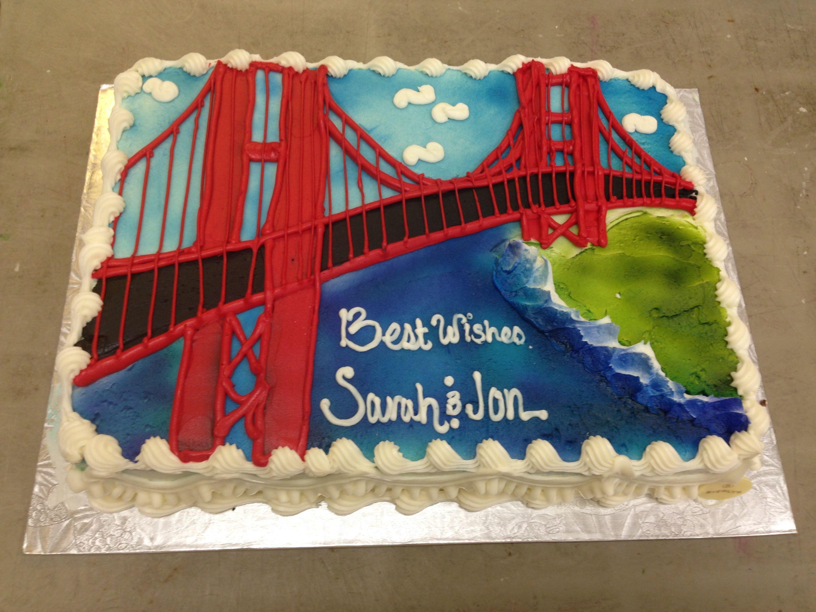 1 2 Sheet Golden Gate Bridge Engagement Cake Cakes