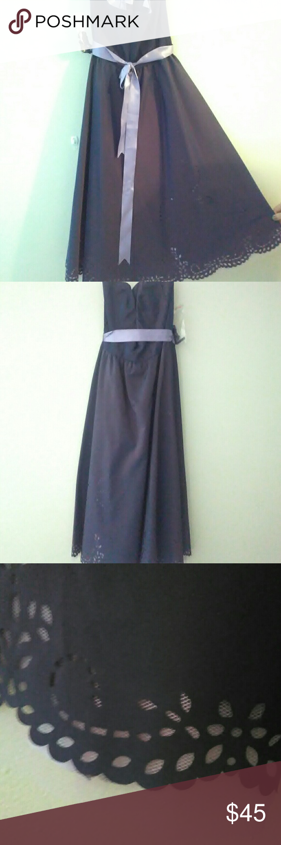 NWT Stunning V neck gown Nwt Stunning simi deep V neck purple and lavender gown with amazing detail on the bottom that goes up the dress in some spots Dresses Prom