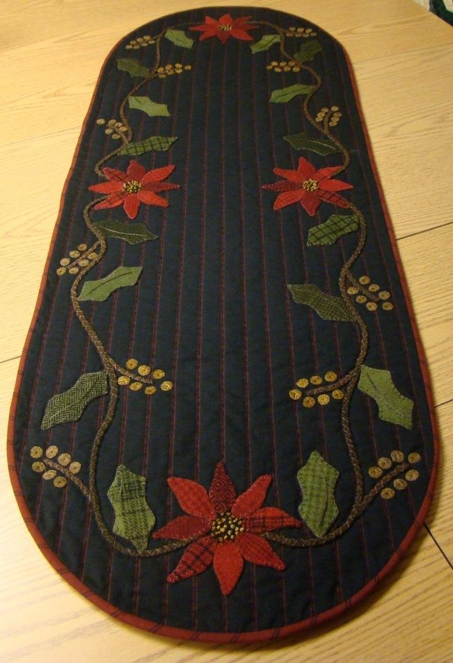 Poinsettia Runner - FINALLY found the pattern here: http://homesteadstitches.com/?wpsc-product=holly-poinsettia-table-runner-kit-duplicate: