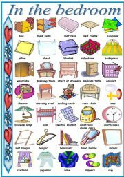 Living room dictionary for kids worksheets pinterest for Bedroom furniture vocabulary