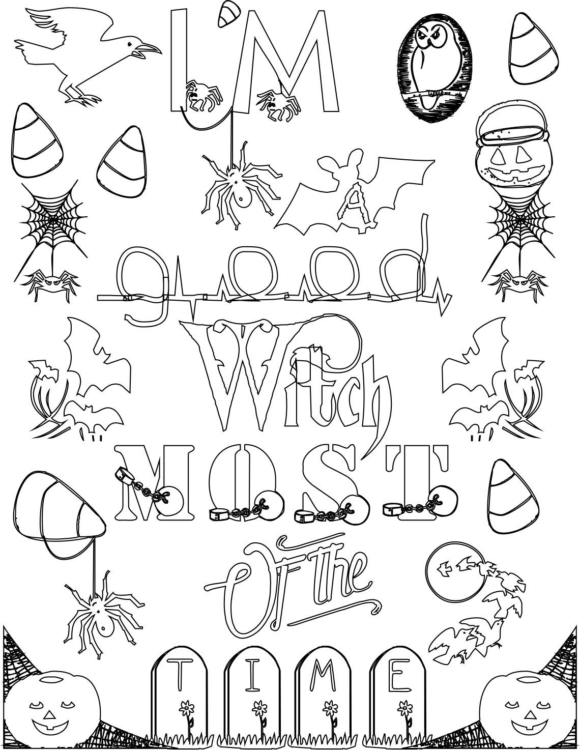 Im A Good Witch Most Of The Time Adult Coloring Page Quote Stefanie Girard