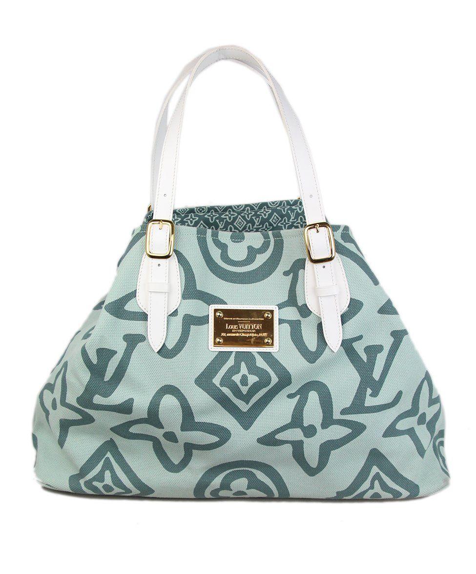 557980b6f5ed Louis Vuitton Mint Canvas White Leather Tote