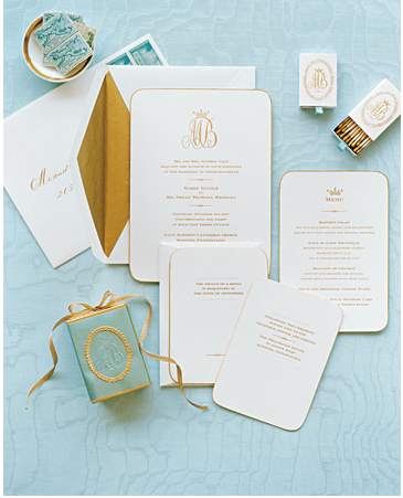 Superb Gold U0026 Ivory Wedding Invitation Suite | Martha Stewart Weddings